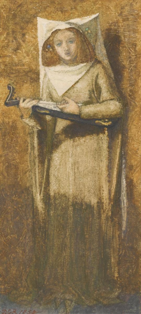 Данте Габриэль Россетти. Девушка, поющая и играющая на лютне