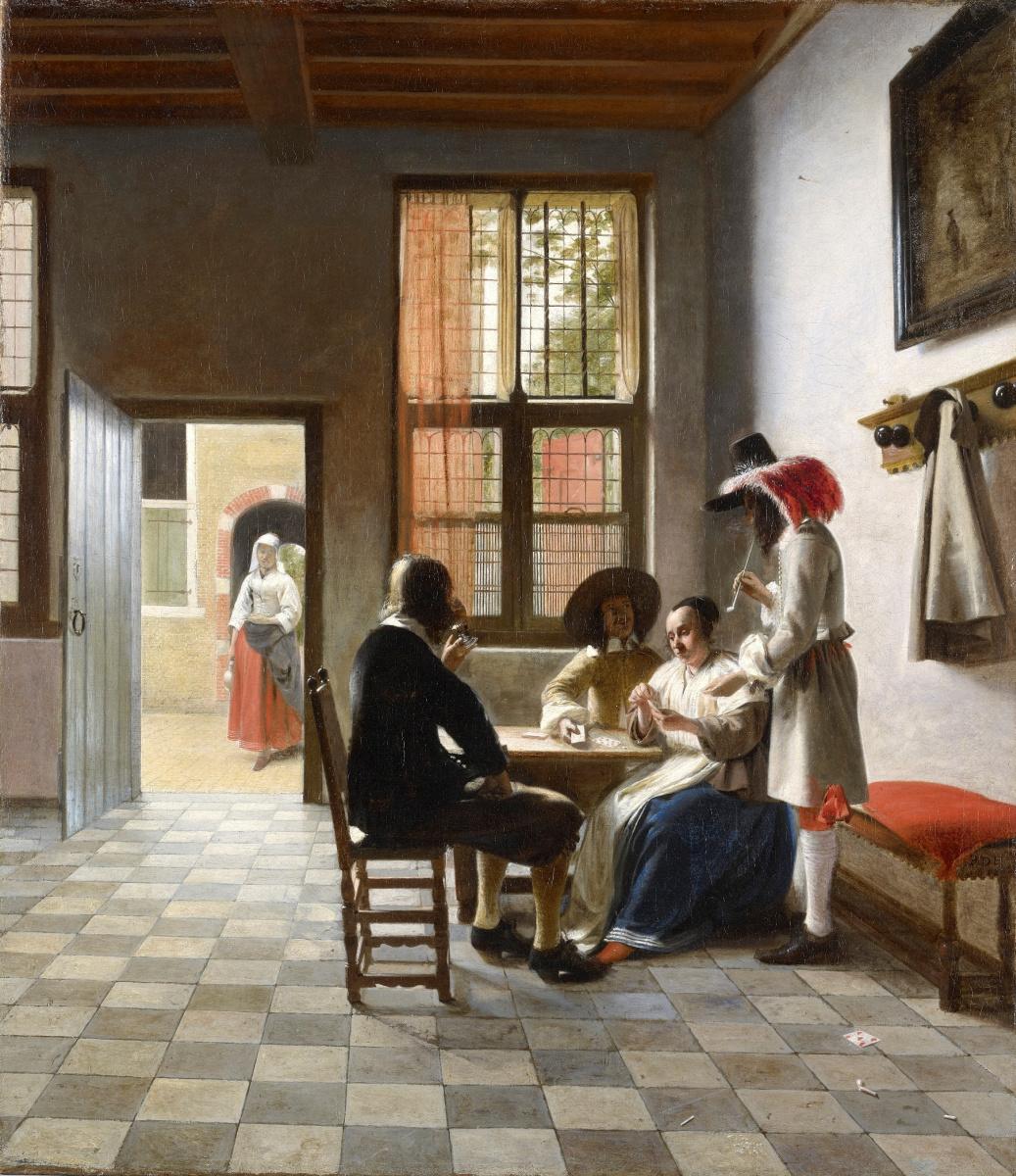 Pieter de Hooch. Card players in a sunny room