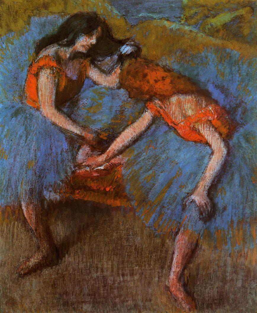 Эдгар Дега. Две балерины с желтым корсажем