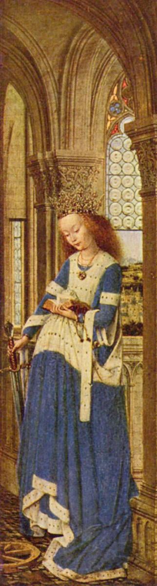 Ян ван Эйк. Алтарь Девы Марии, Дрезденский триптих, правая створка: св. Екатерина Александрийская, оборотная сторона: Благовещение
