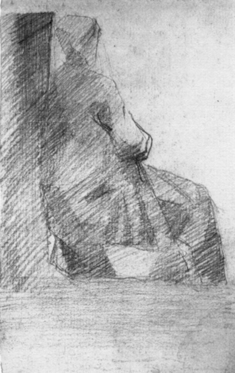 Жорж Сёра. Сидящая женщина, фигура со спины