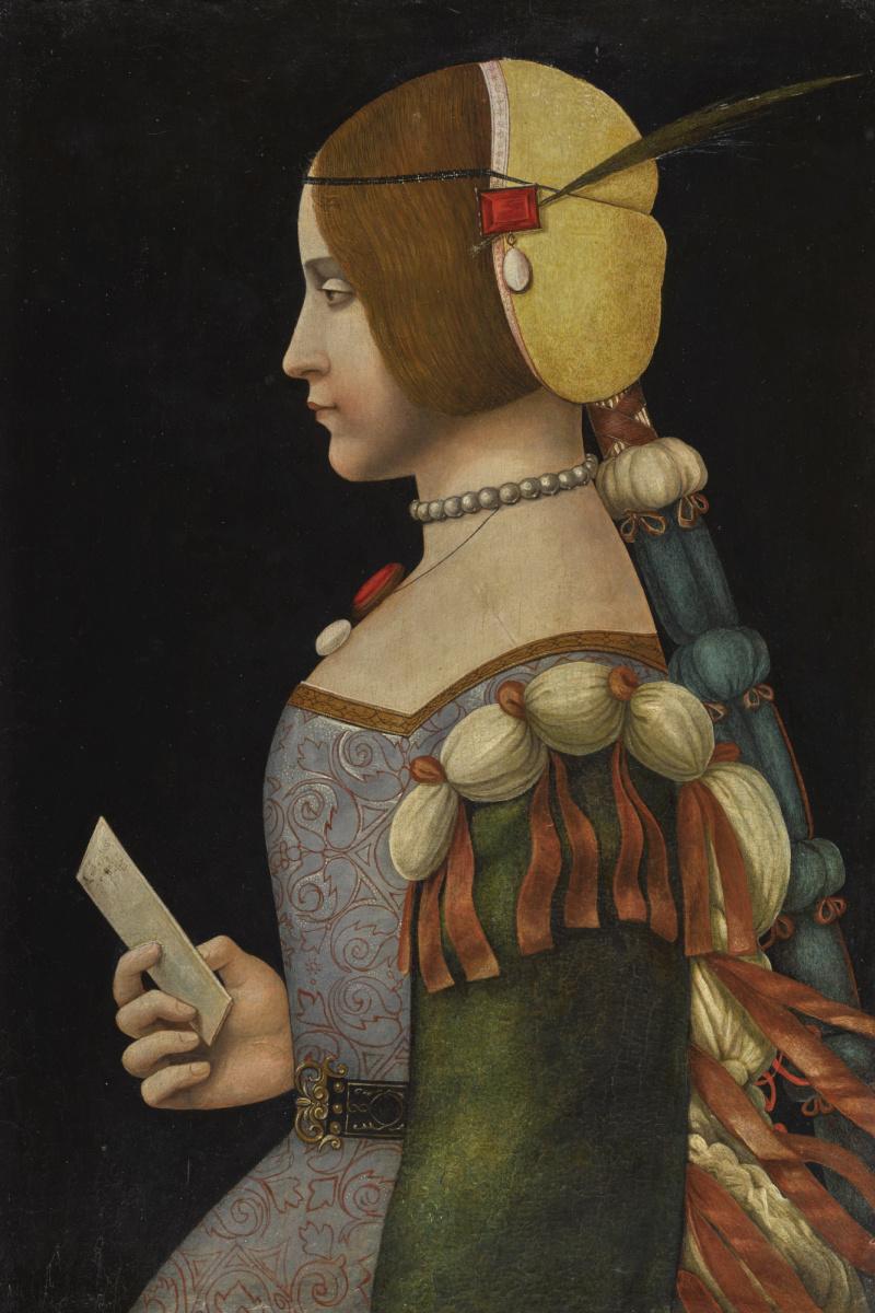 Неизвестный  художник. Портрет дамы в профиль