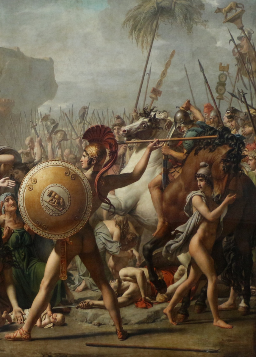 Jacques-Louis David. Sabine women stopping the battle between Romans and sabinyanami. Fragment IV