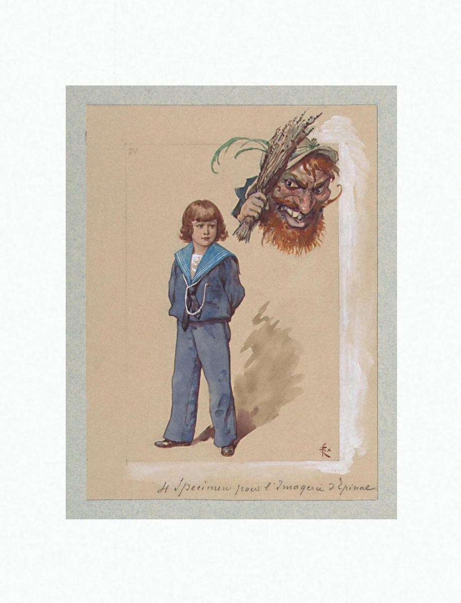 Феликс Регамей. Фигура мальчика в матроске и карикатурная голова