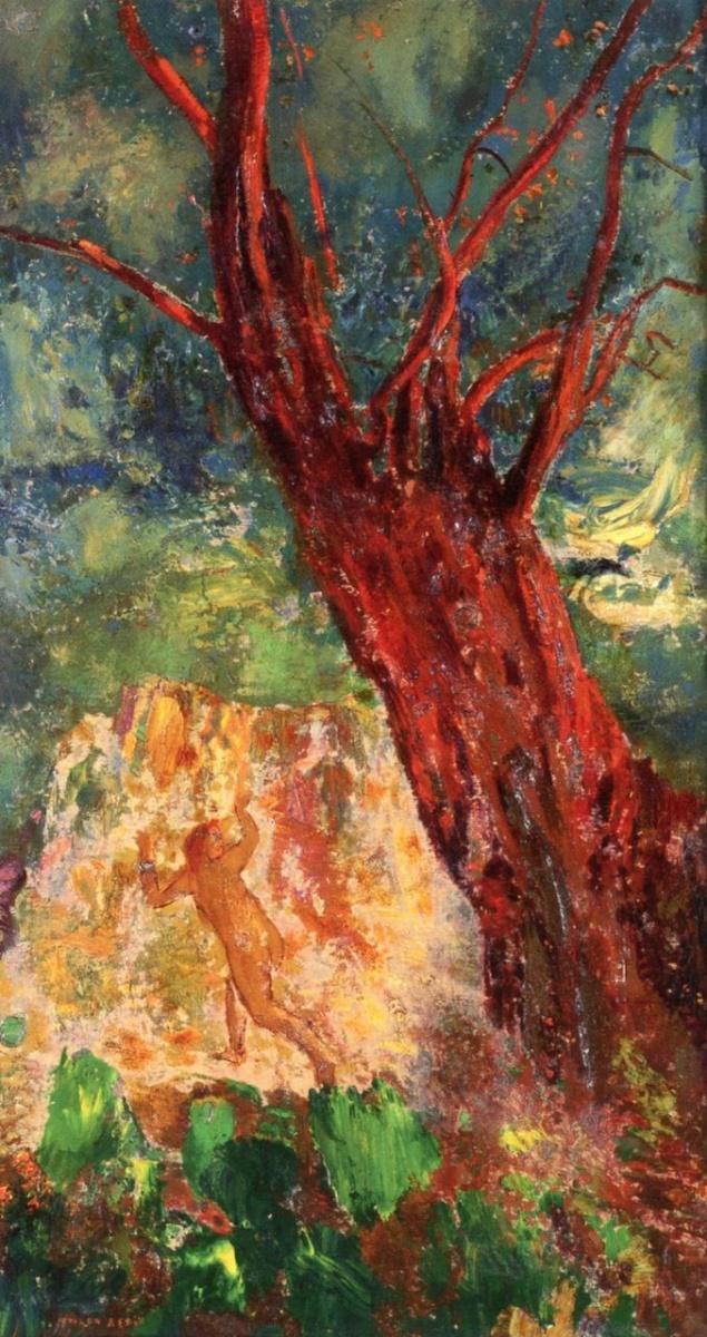 Одилон Редон. Красное дерево, убегающая фигура