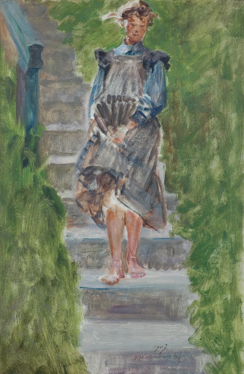Яцек Мальчевский. Девушка на лестнице в саду