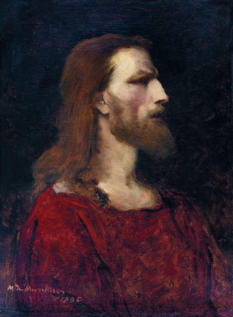 Михай Либ Мункачи. Портрет мужчины в красном. Эскиз для изображения Христа