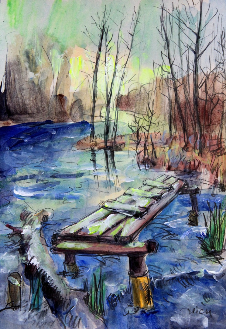 Ilya Pavlovich Spichenkov. Old bridge on a frozen river