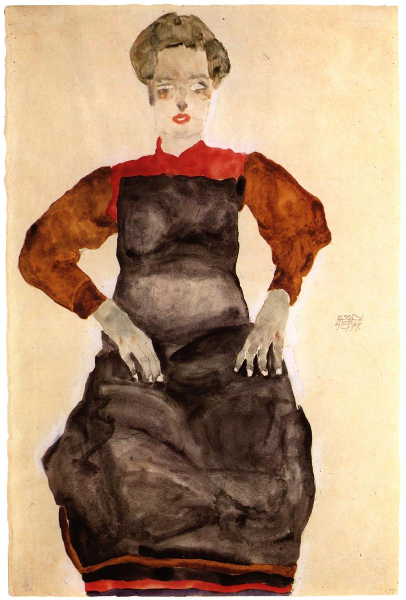 Эгон Шиле. Женщина в чёрном фартуке