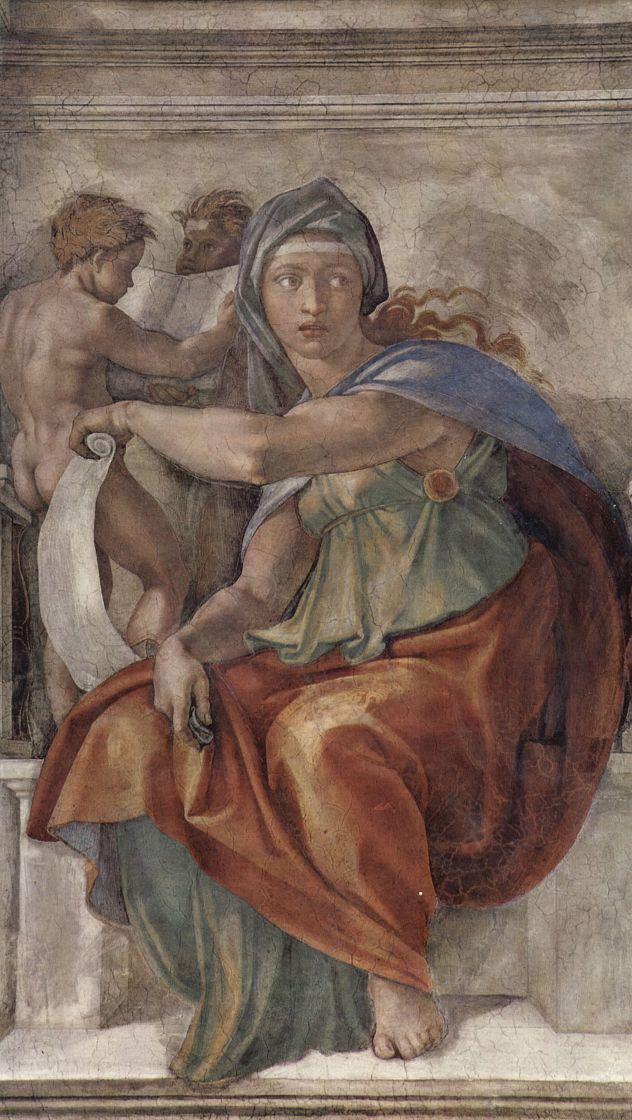Микеланджело Буонарроти. Дельфийская сивилла. Фрески Сикстинской капеллы