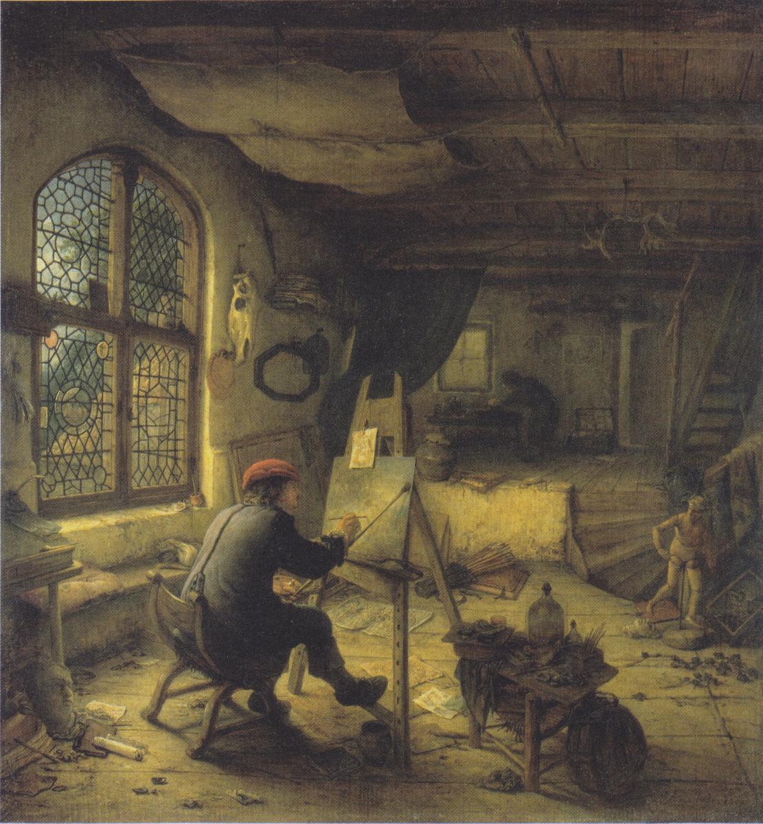 Adrian Jans van Ostade. The artist in his Studio