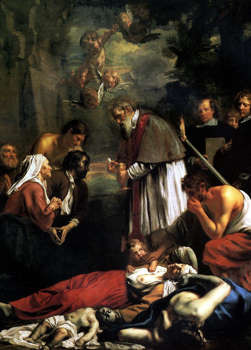 Якоб Ван Ост Младший. Святой Макарий Гентский причащается во время чумы