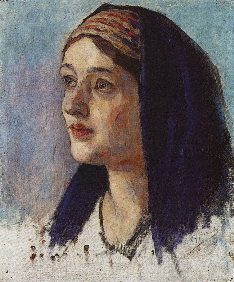"""Vasily Ivanovich Surikov. The Head Of Mary. A sketch for the painting """"the Annunciation"""""""