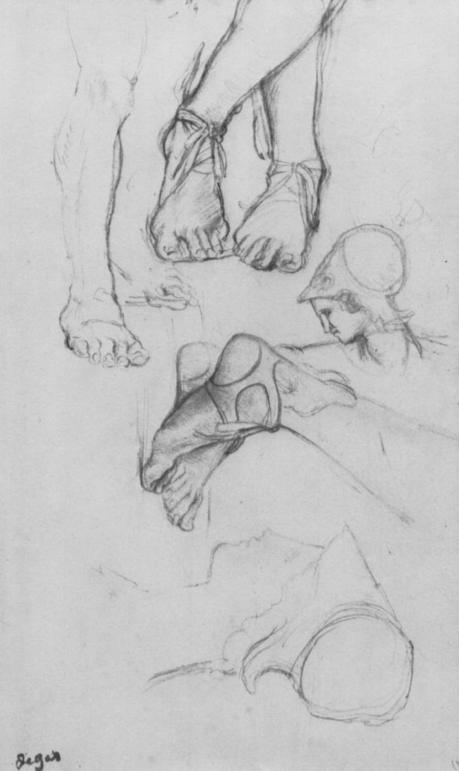 Edgar Degas. Sketches of head and leg of ancient sculpture of a young man