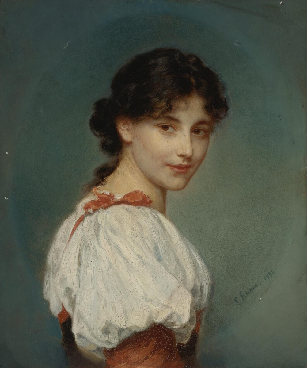 Ludwig Knaus. Portrait of an italian girl