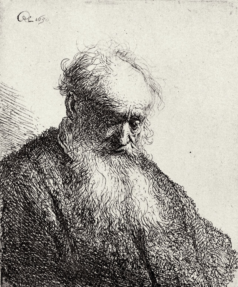 Rembrandt Harmenszoon van Rijn. The head of a man with a long beard