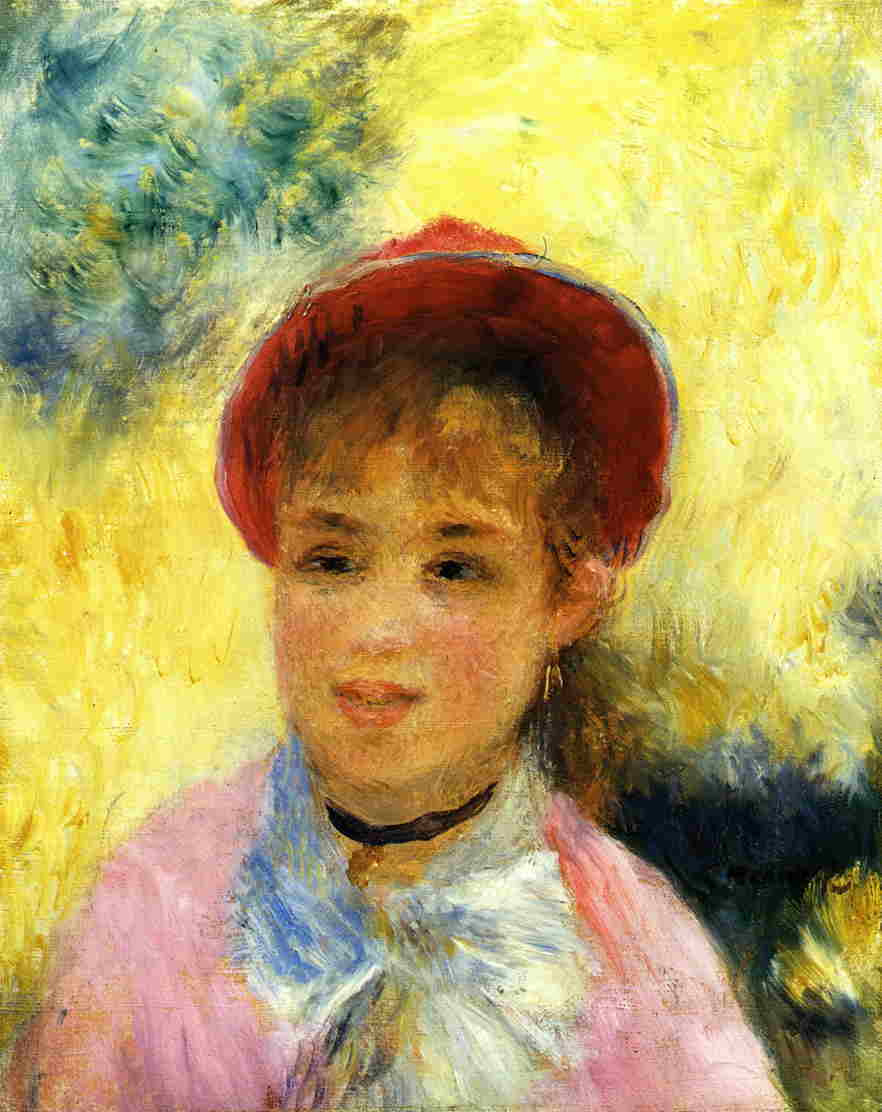 "Pierre Auguste Renoir. The girl in the hat. Study for the painting ""ball at the Moulin de La Galette"""