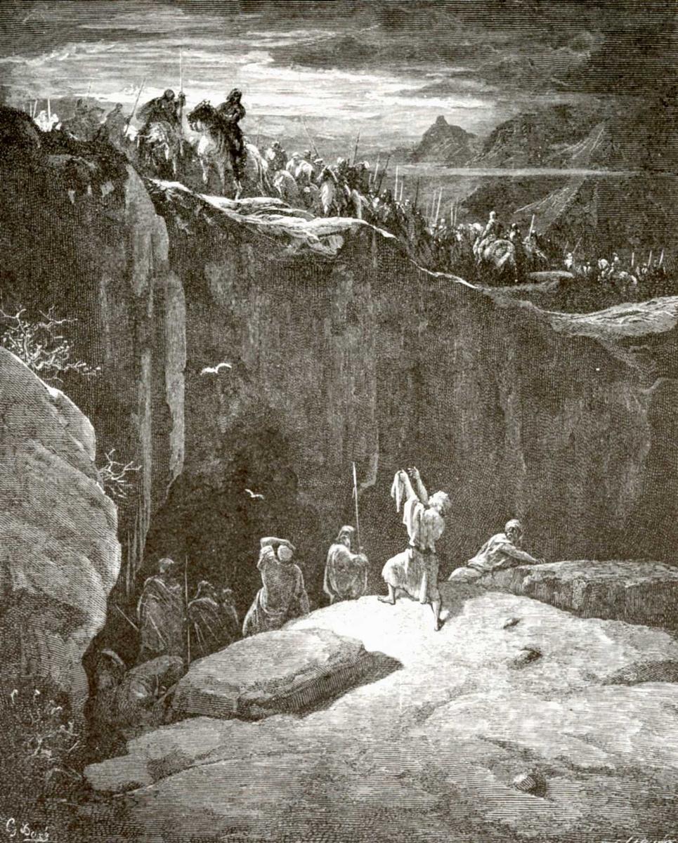 Поль Гюстав Доре. Иллюстрация к Библии: Давид и Саул у пещеры Эд-Гадди