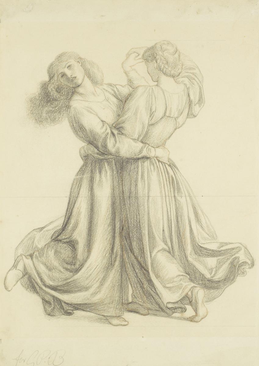"""Данте Габриэль Россетти. Танцующие девушки. Эскиз для картины """"Беседка на лугу"""""""