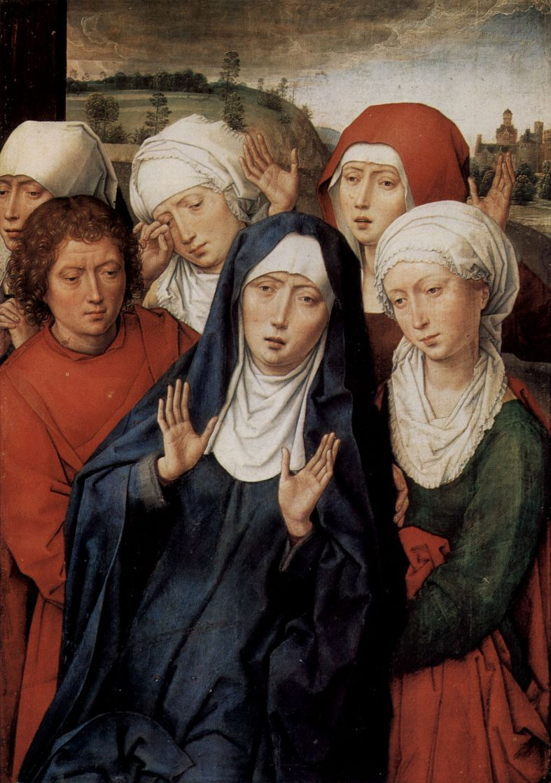 Ганс Мемлинг. Диптих Гранады, правая створка: Жены мироносицы и св. Иоанн