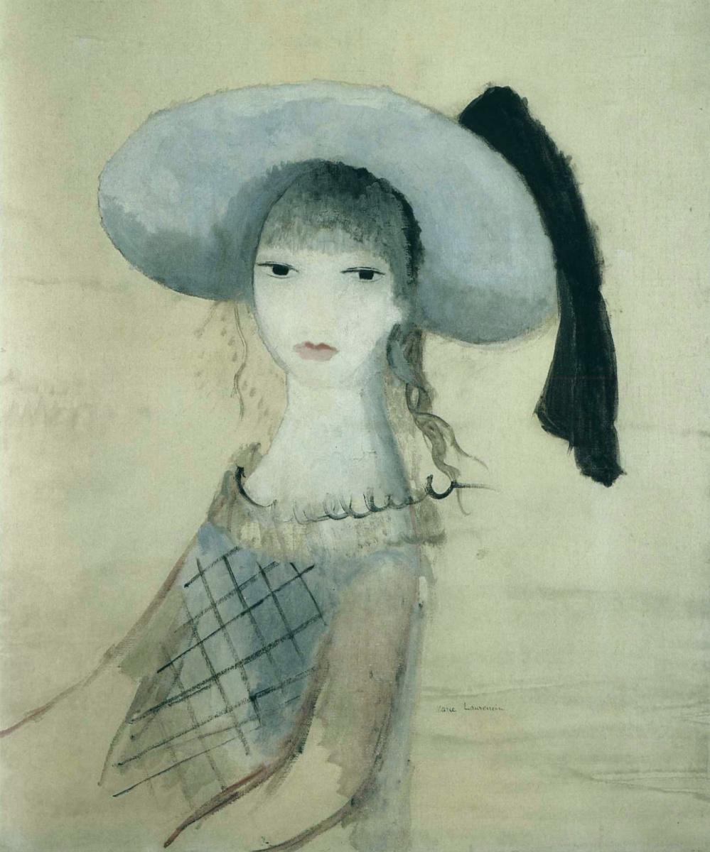 Мари Лорансен. Девушка в синем и черной шляпе