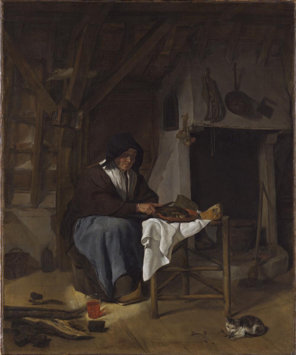 Габриель Метсю. Старуха за едой в интерьере