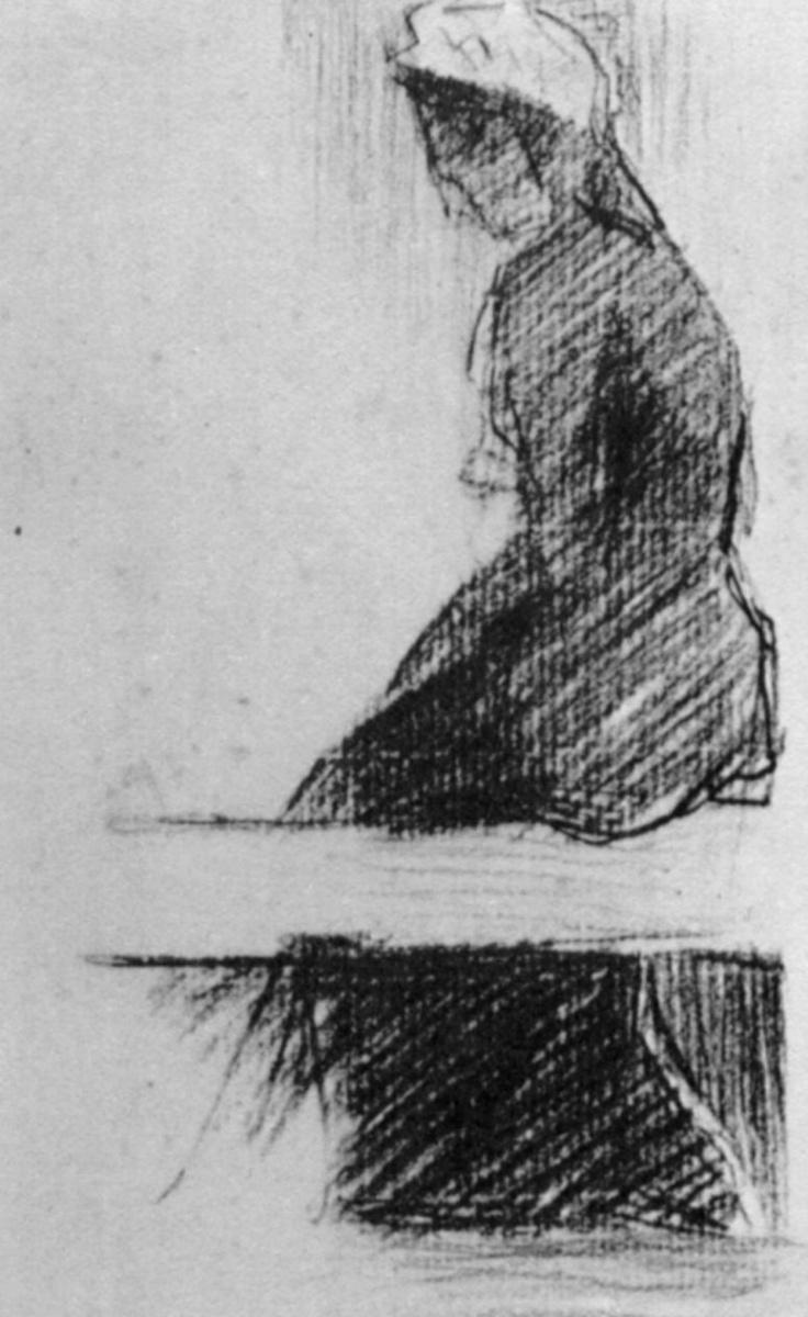 Жорж Сёра. Сидящая на скамейке женщина