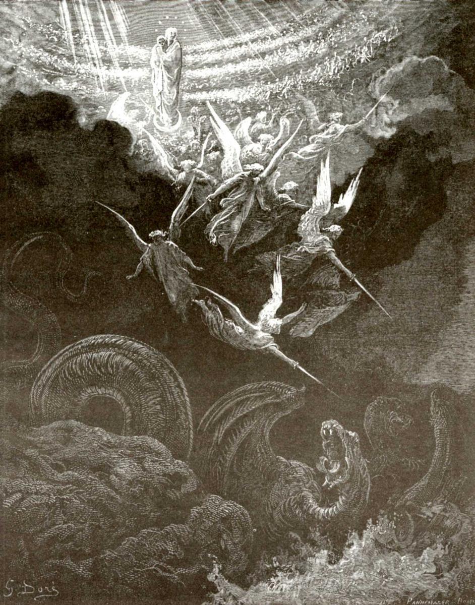 Поль Гюстав Доре. Иллюстрация к Библии: Жена, облеченная в солнце