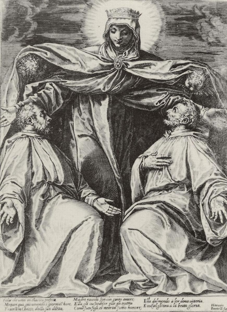 Агостино Карраччи. Мадонна-заступница с двумя монахами