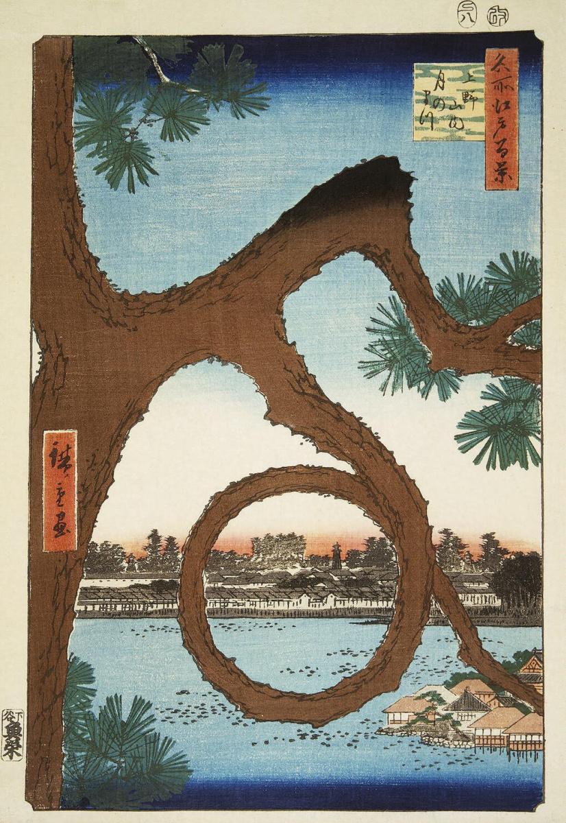 """Утагава Хиросигэ. Лунная сосна в Уэно. Серия """"100 знаменитых видов Эдо"""""""