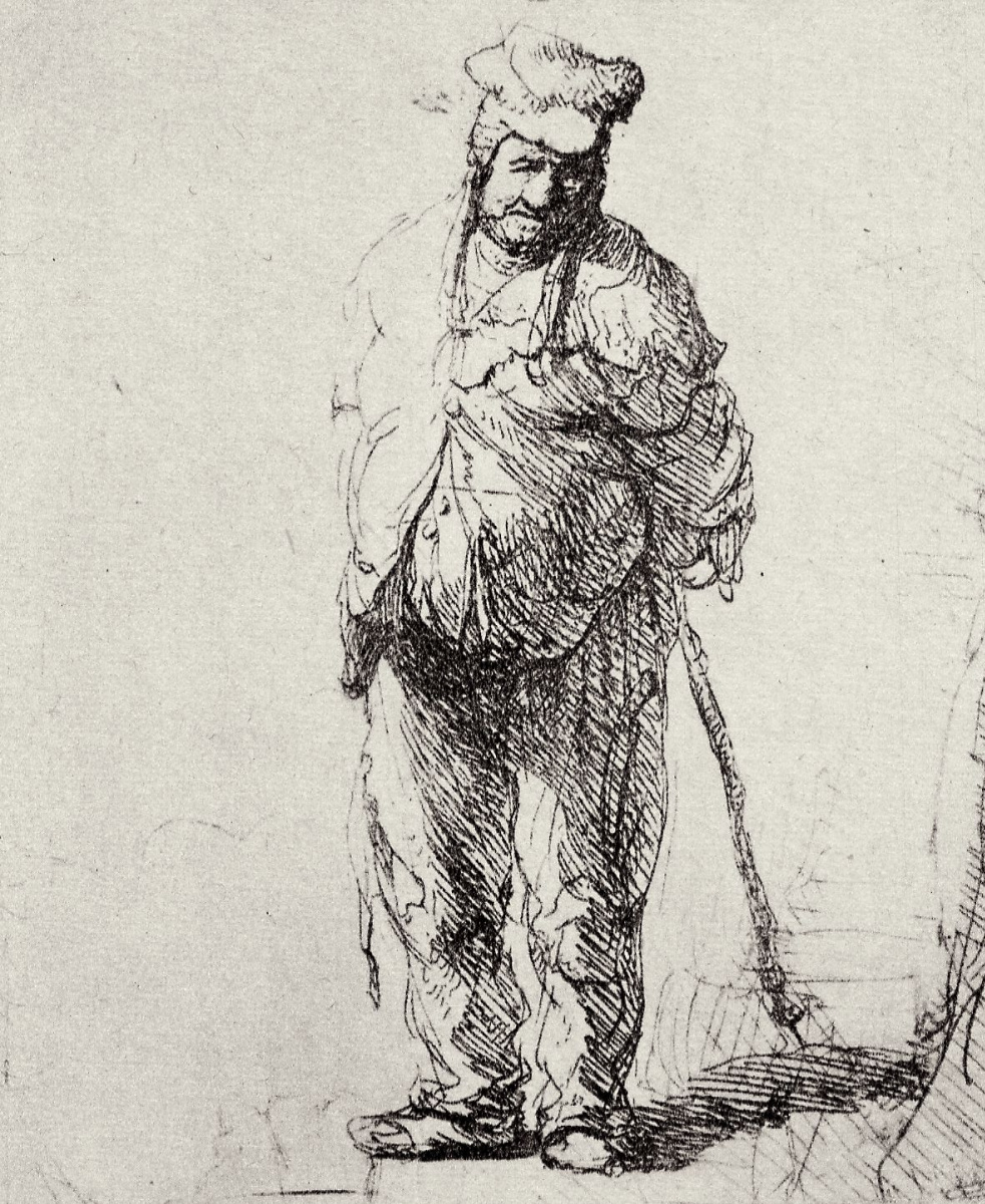 Rembrandt Harmenszoon van Rijn. Ragamuffin standing with hands behind back