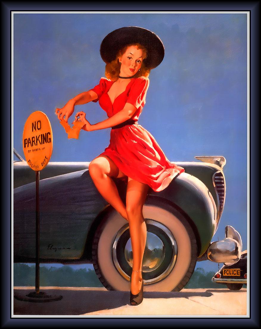 Jill Elvgren. Old car