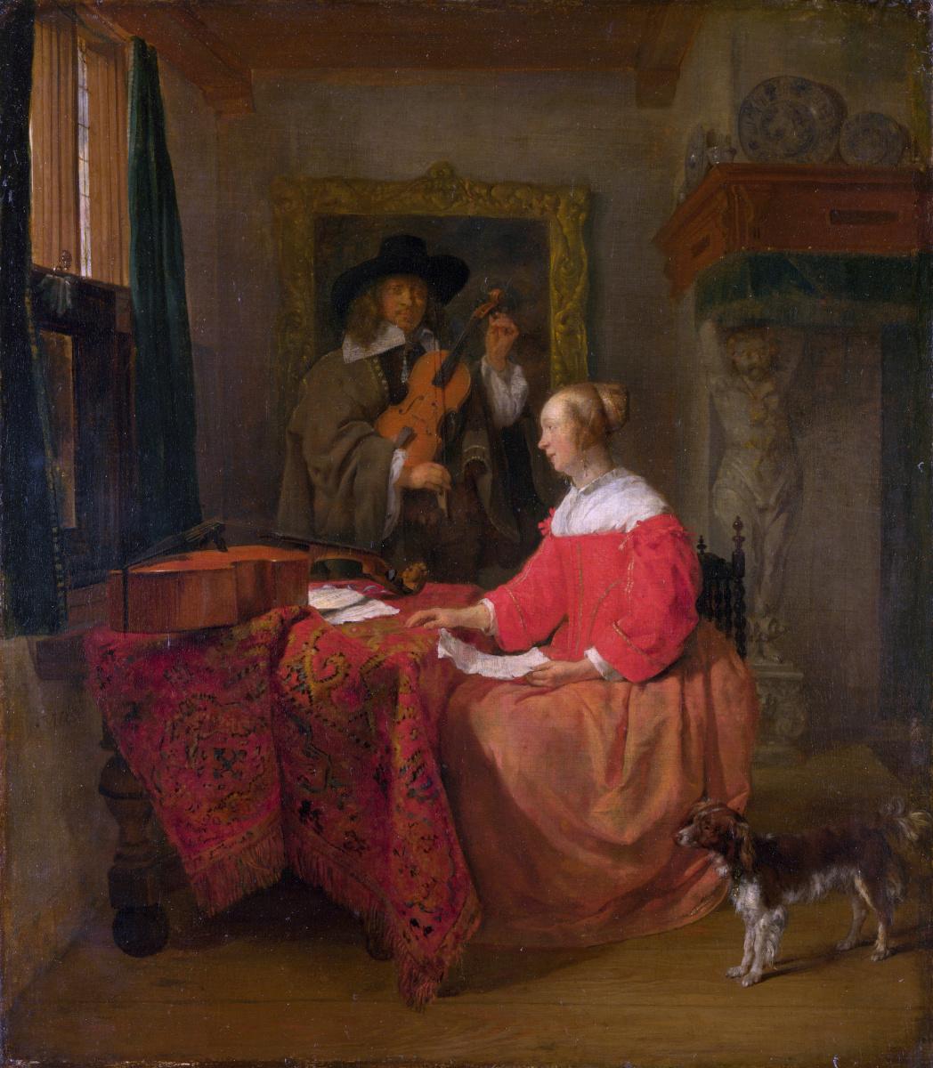 Габриель Метсю. Женщина, сидящая за столом и парень настраивающий скрипку