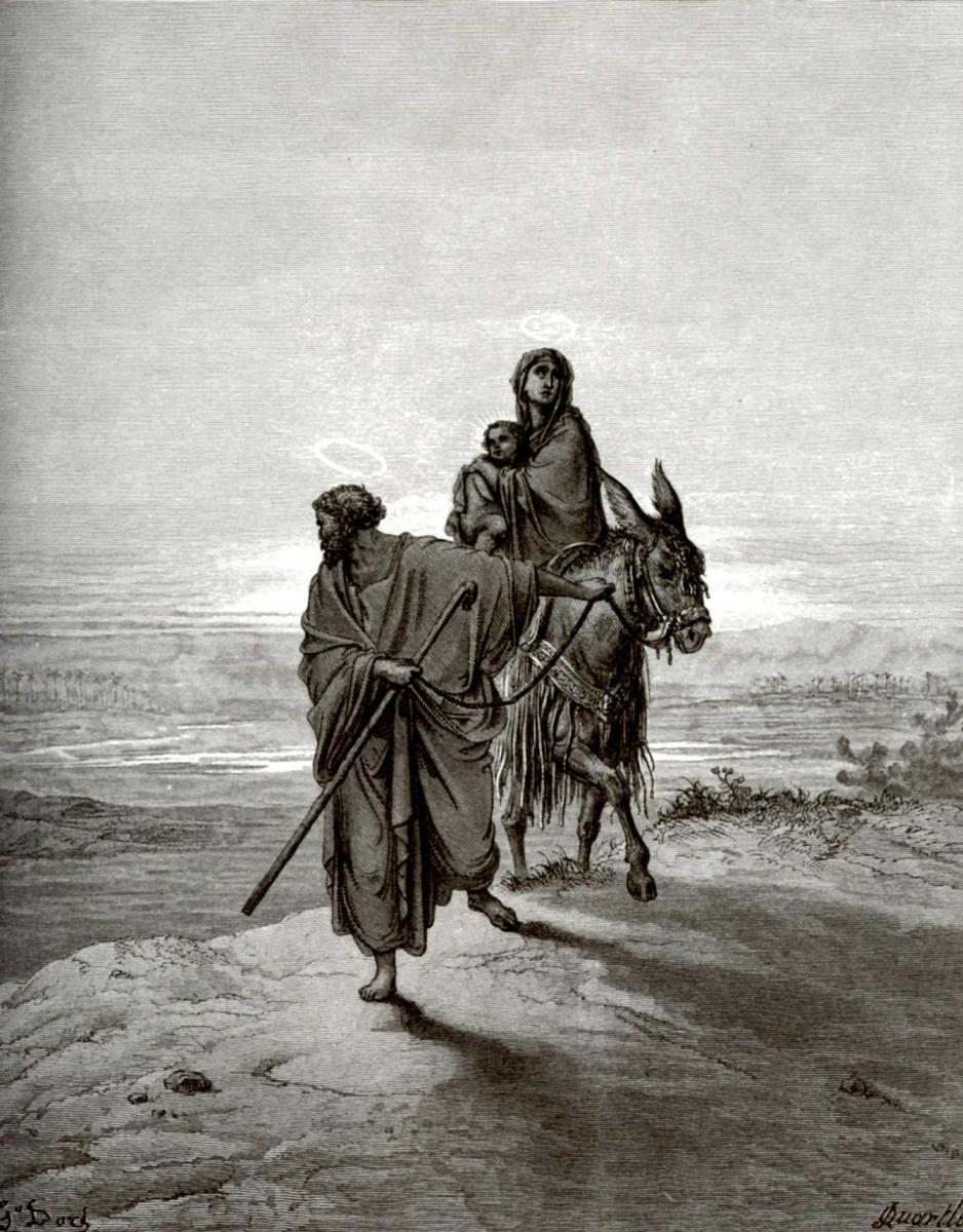 Поль Гюстав Доре. Иллюстрация к Библии: Бегство в Египет