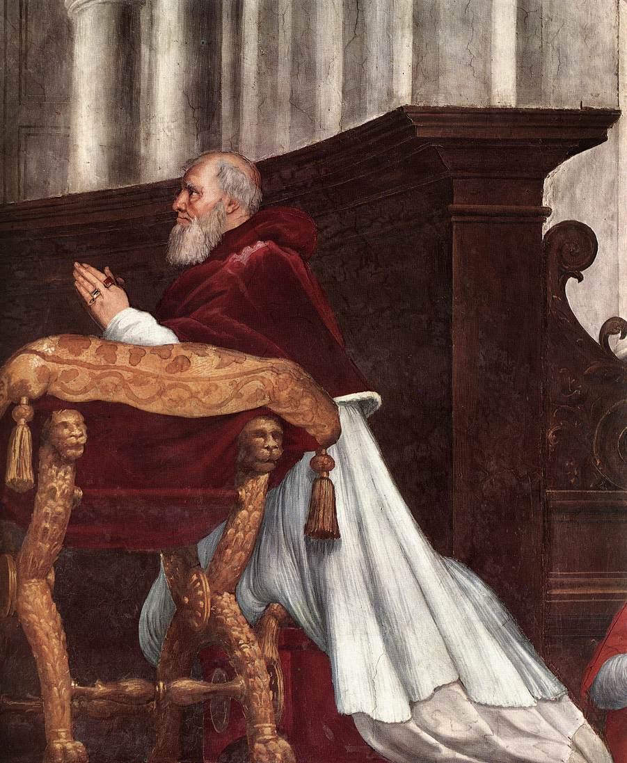 """Рафаэль Санти. Станца д'Элиодоро. Фреска """"Месса в Больсене"""". Фрагмент: папа Юлий II"""