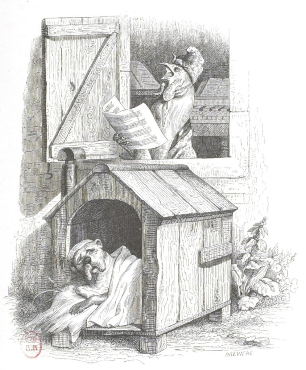 """Жан Иньяс Изидор (Жерар) Гранвиль. Проклятый петух... """"Сцены общественной и частной жизни животных"""""""