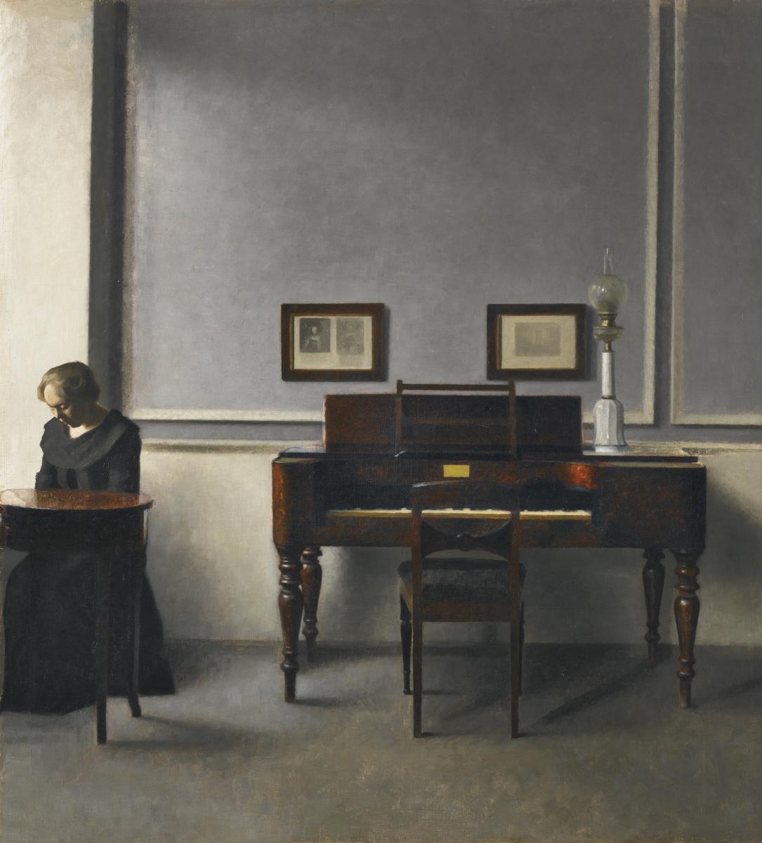 Vilhelm Hammershøi. Ida in the interior of the piano
