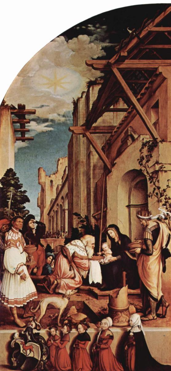 Ганс Гольбейн Младший. Алтарный образ Ганса Оберрида для Фрайбургского собора, левая створка. Поклонение волхвов