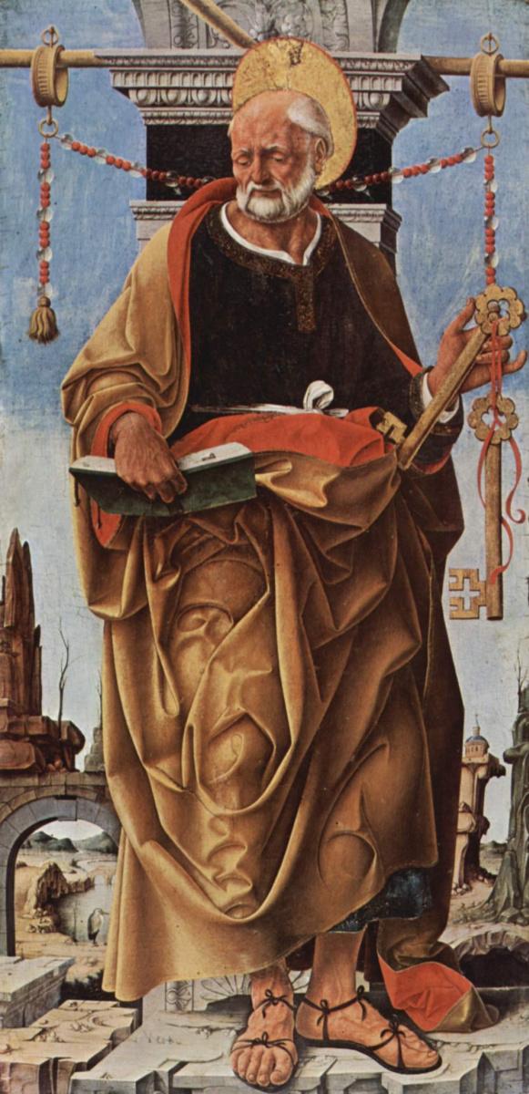 Франческо дель Косса. Алтарь Гриффони, Капелла Гриффони в церкви Сан Петронио в Болонье, левая створка: св. Петр