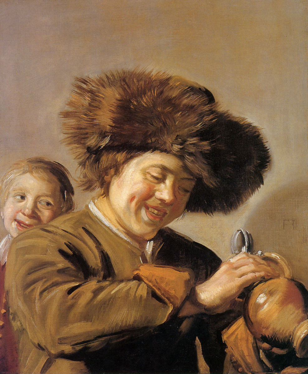 Frans Hals. Two laughing youths with a beer jug