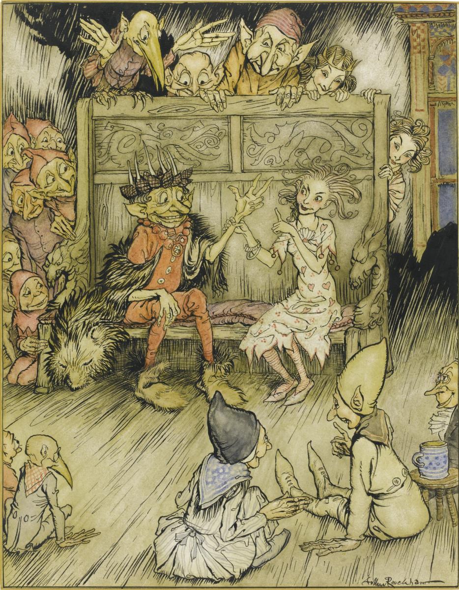 """Артур Рэкхэм. Иллюстрация к сказке Г. Х. Андерсена """"Волшебный холм"""""""