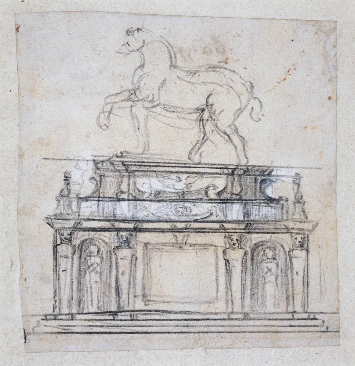 Микеланджело Буонарроти. Набросок для статуи Генриха II из Франции на коне
