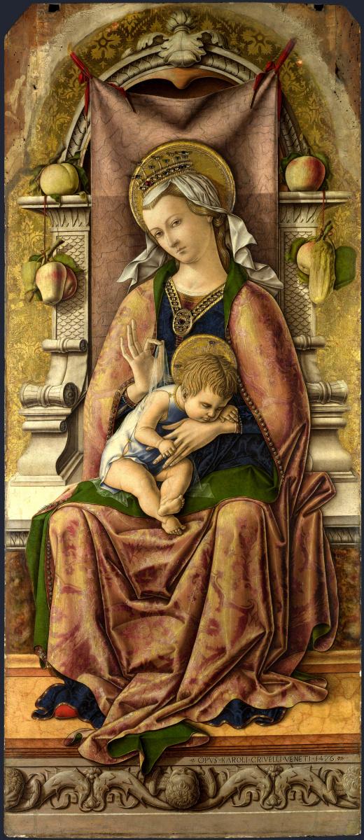 Карло Кривелли. Мадонна на троне. Центральный алтарь Сан Доменико в Асколи, полиптих, центральное изображение