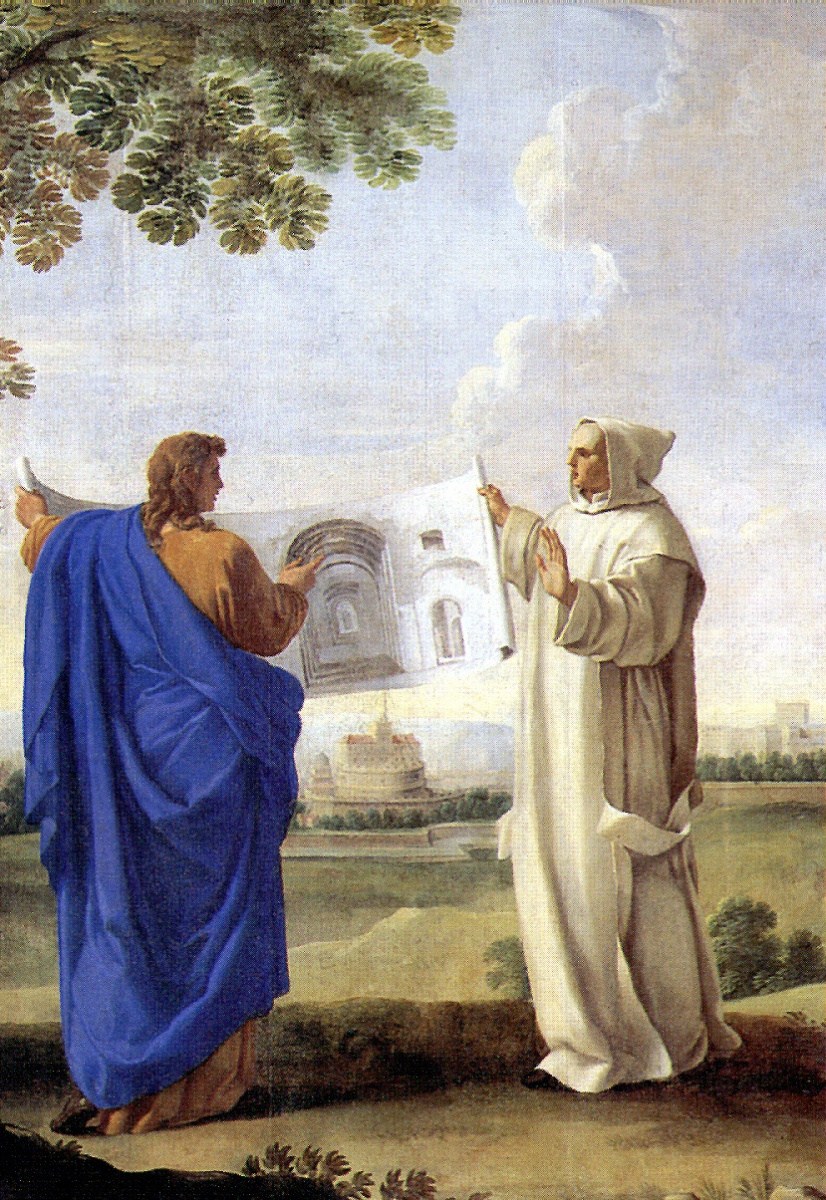 Эсташ Лесюэр. Святой Бруно, изучающий рисунок с термами Диоклетиана