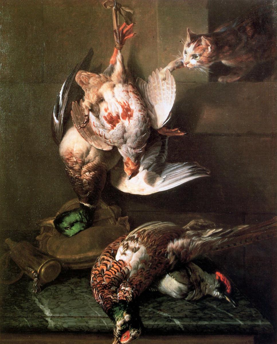 Александр Франсуа Деспортес. Кошка нападает на мертвых птиц