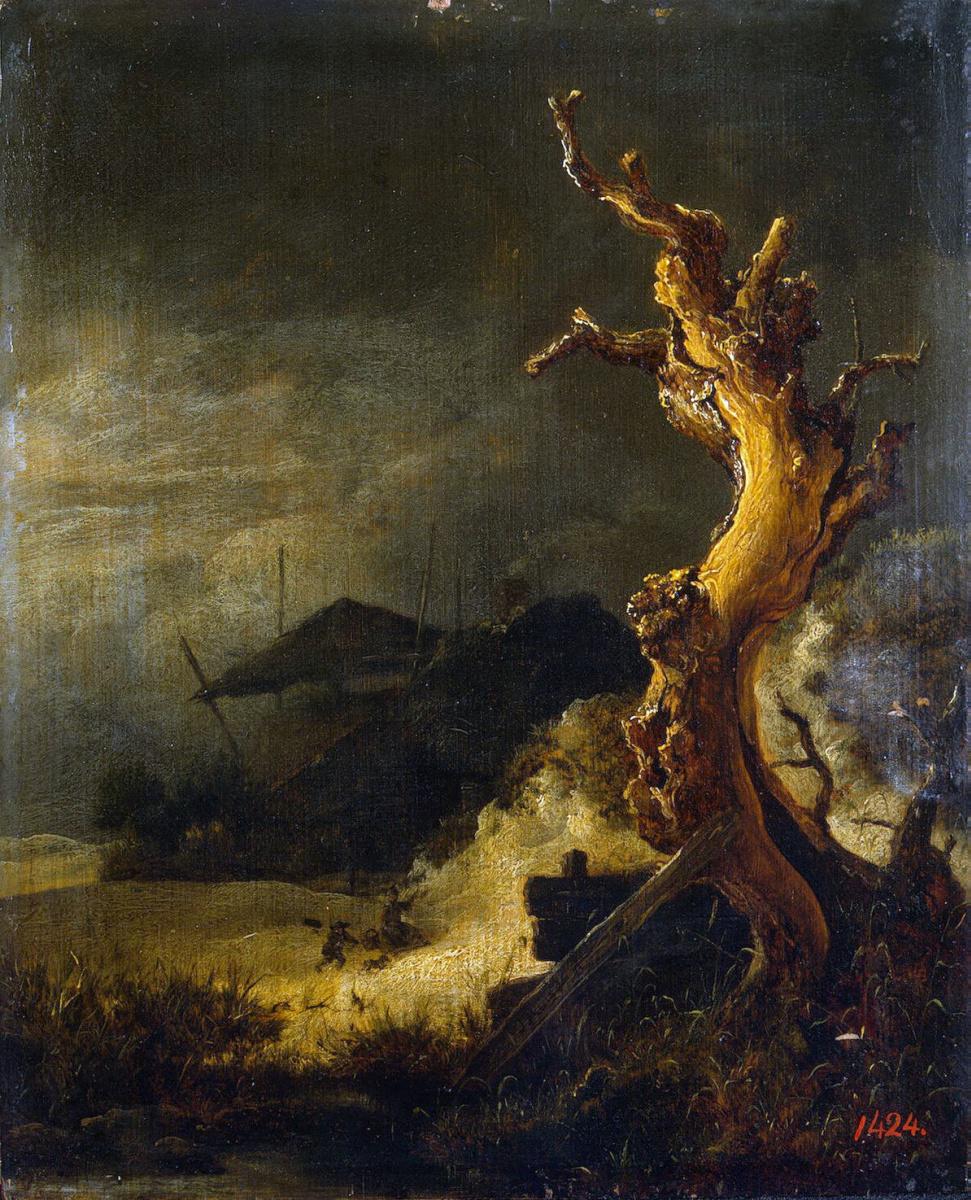 Якоб Исаакс ван Рейсдал. Зимний пейзаж с сухим деревом