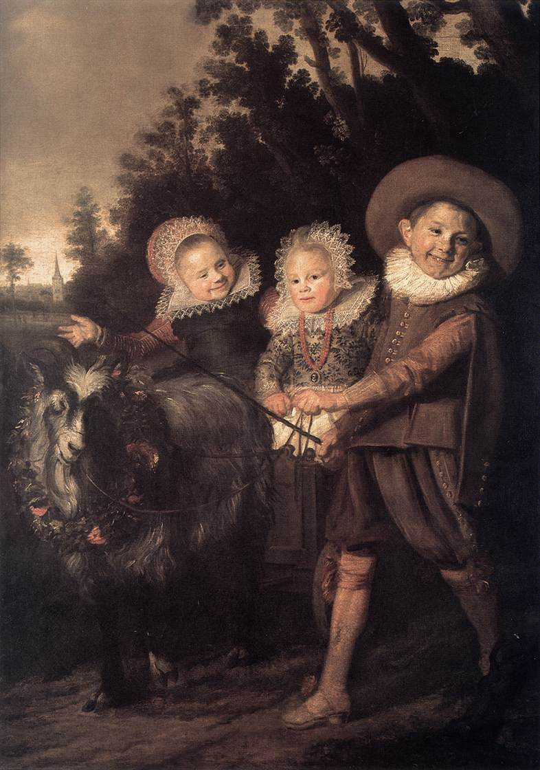 France Hals. Three children in a wagon pulled by a goat