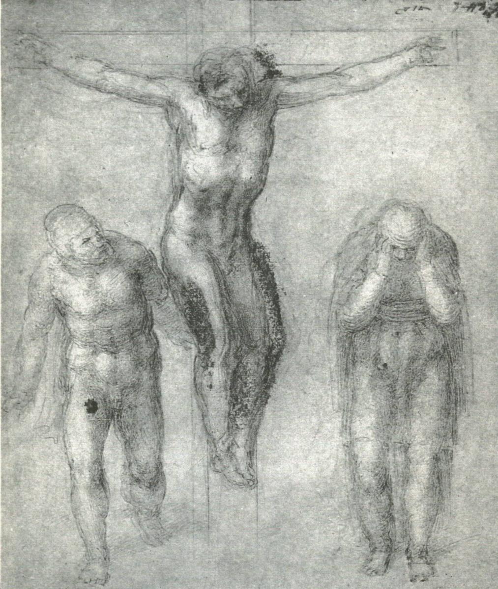 Микеланджело Буонарроти. Этюд для Христа на кресте со скорбящими