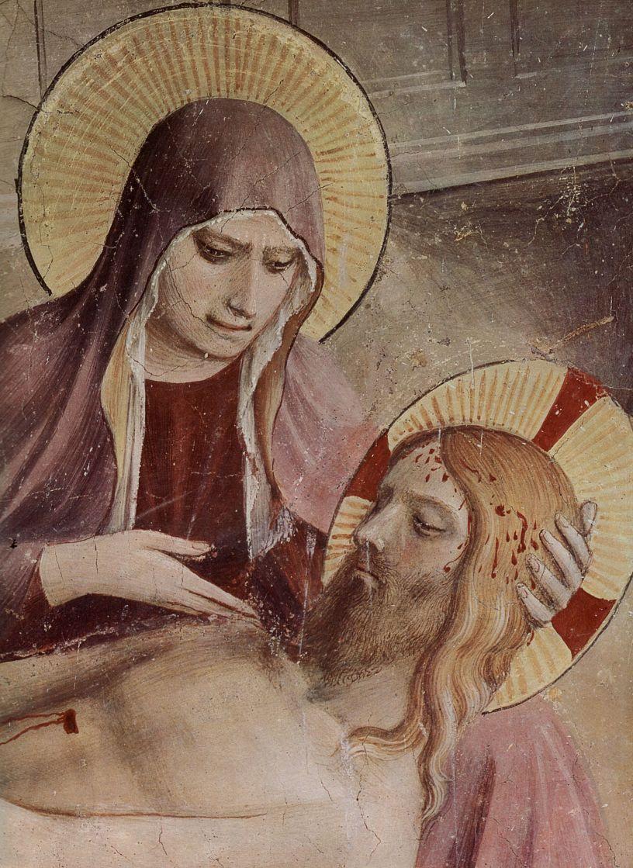 Фра Беато Анджелико. Цикл фресок доминиканского монастыря Сан Марко во Флоренции, сцена: Положение во гроб, деталь