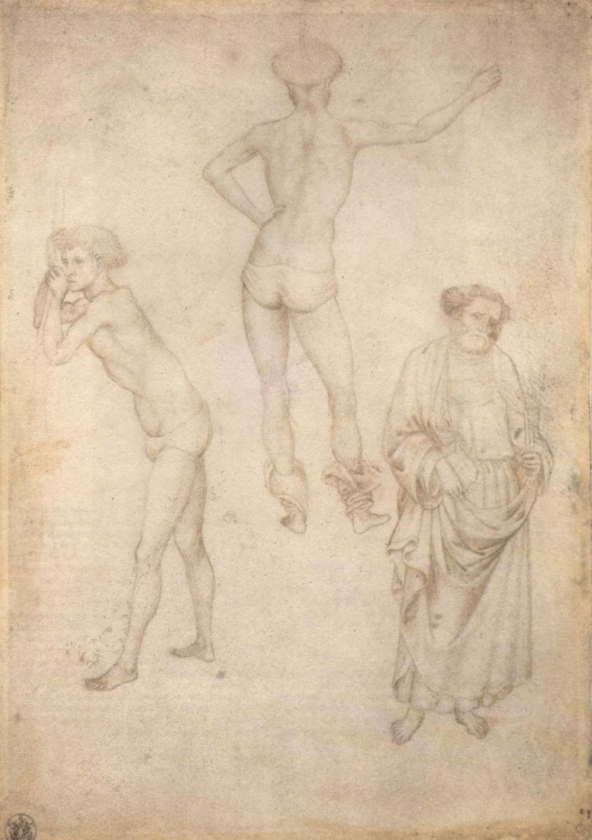 Антонио Пизанелло. Два рисунка обнаженных юношей и фигура святого Петра
